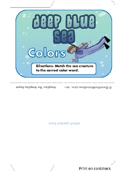 Deep Blue Sea - Ocean Animal Color Words Mini File Folder Game