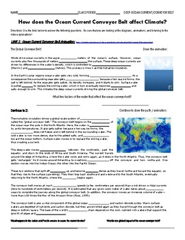 Deep Ocean Current Webquest - Ocean Current Conveyor Belt