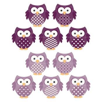 Plum Owl Vectors & Papers - Baby Owl Clipart, Owl Clip Art, Baby Owls