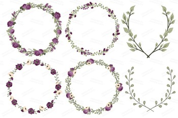 Deep Plum Wedding Floral Clipart & Vectors - Flower Clip Art, Banners