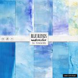 Watercolor Digital Papers, Deep Sea Blue, Ocean Summer, Watercolor Backgrounds