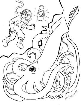 Squid & Deep Sea Diver Coloring Page
