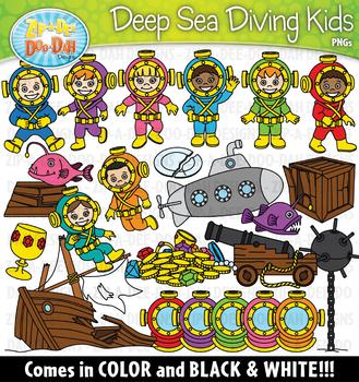 Deep Sea Diving Kids Clipart Set {Zip-A-Dee-Doo-Dah Designs}
