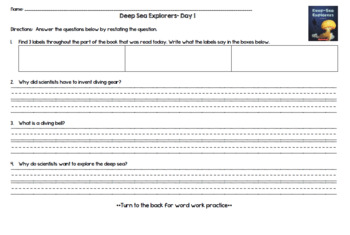 Deep Sea Explorers (Level O) Guided Reading Lesson Plan