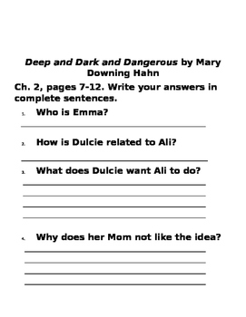 Deep and Dark and Dangerous by Mary Downing Hahn, Ch. 1-5