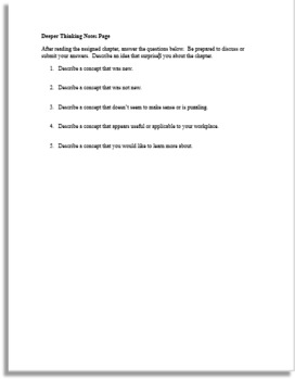 Deeper Thinking Notetaking Sheet