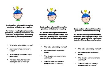 Deeper Thinking Questions Bookmark Common Core