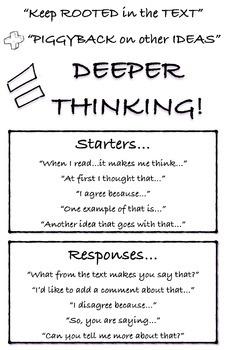 """Deeper Thinking"" Writing & Conversation Starters Poster"