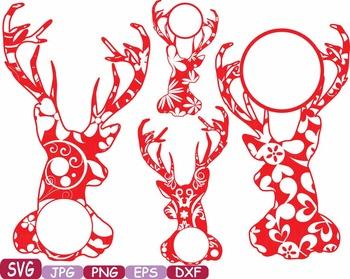 Deer Circle Frame reindeer Jungle Animal mascot SVG school Clipart zoo 380s