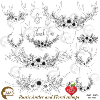 Deer Clipart, Antlers Digital Stamps, Antler Wreaths,  AMB-1827