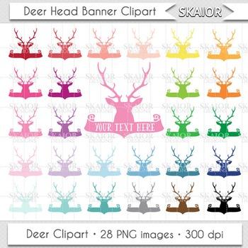 Deer Clipart Deer Clip Art Antlers Clipart Banner Clipart