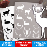 Deer Clipart, White Deer Silhouette, Black Deer Graphics,