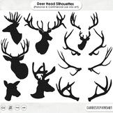 Realistic Deer Head Silhouettes + Line, Reindeer Antler ClipArt, Deer Clip Art