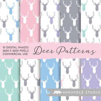 Deer Pattern Digital Paper, Woodland, Stag, Antler, Animal Pattern