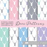 Deer Pattern Digital Paper, Woodland, Stag, Antler, Animal