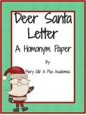 Third / Fourth Grade Christmas -  Homonym Paper
