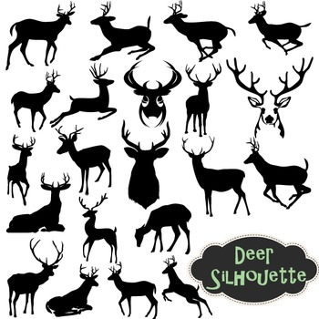 Deer Silhouette Clip Art Reindeer Clipart Scrapbooking Deer Element Black Deers