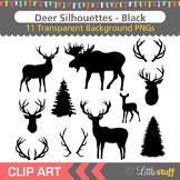 Deer Silhouette Clipart, Deer Head Silhouettes, Moose Silhouettes, Antlers
