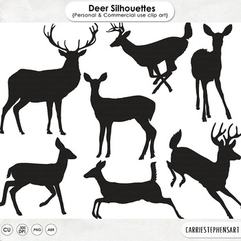 Woodland Deer ClipArt Silhouettes Digital Stamps Forest Animals