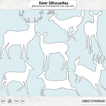 Woodland Deer ClipArt Silhouettes, Deer Digital Stamps, Forest Animals