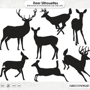 Woodland Deer Silhouettes, Deer Digital Stamps, Forest Ani