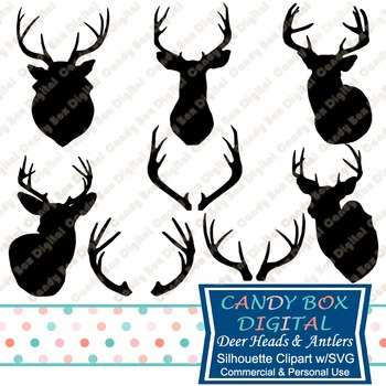 Deer and Antler Silhouette Clip Art with SVG for Cutting Machines