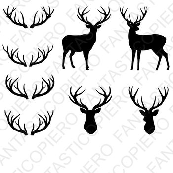 Deer, deer head, antlers SVG files for Silhouette Cameo and Cricut.
