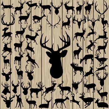 60 Deer Silhouette Vector, SVG, DXF, PNG, EPS, Antler, Horn, Mule, Christmas.