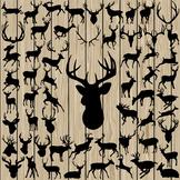 60 Deer Silhouette Vector, SVG, DXF, PNG, EPS, Antler, Hor