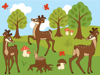 Deers Clipart - Digital Vector Deer, Mushroom, Tree, Forest Clip Art