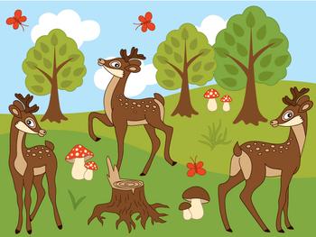Deers Clipart - Digital Vector Deer, Mushroom, Tree, Fores