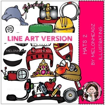 Hats clip art Part 2 - LINE ART- by Melonheadz
