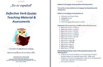 Defective Verb Gustar  Teaching Material & Assessments