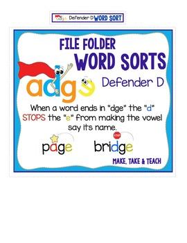 Defender D Word Sort - File Folder Word Sorts