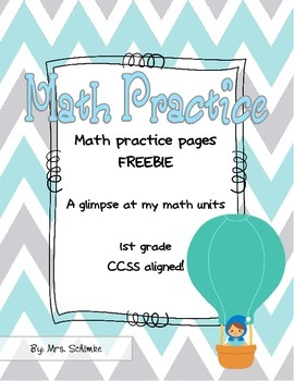 Math Practice Pages for 1st graders FREEBIE (CCSS Aligned)
