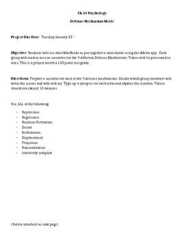 Defense Mechanism Psychology Worksheets Teaching Resources Tpt