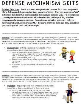 Defense Mechanisms Worksheets Teaching Resources Tpt