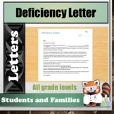 Deficiency or Failing Notice Letter to Parents