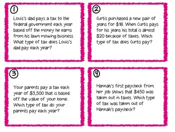 Personal Financial Literacy Define Taxes Task Cards TEKS 5.10A