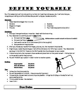 Define Yourself - First Week of School