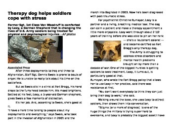 Standardized Test Prep Essay- Therapy Dogs and Soldiers