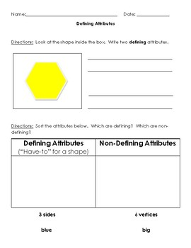 Defining Attributes: Practice Page