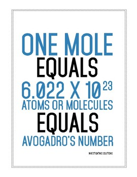 Defining Avogadro's number poster 8 5 by 11