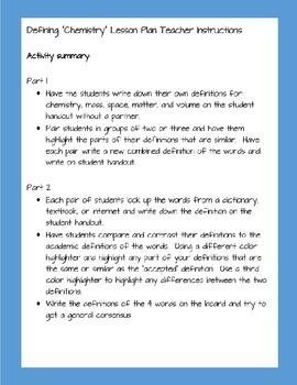 Defining Chemistry Activity