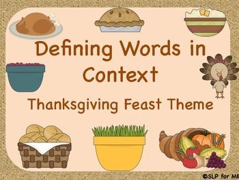 Defining Descriptive Vocabulary in Context - Thanksgiving Theme