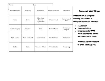 Defining Key Vocabulary - Bingo Sheet - WWI