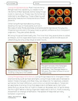Defining Living Things Lesson Plan Grade 6