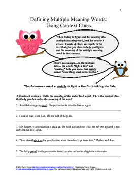 Defining Multiple Meaning Words:  Using Context Clues