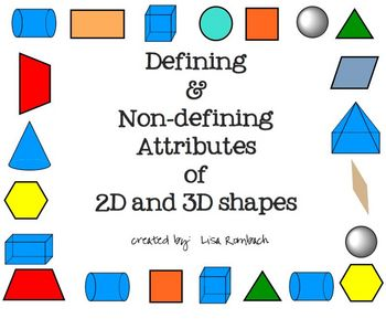 Defining Non-Defining Attributes of 2d & 3d Shapes SmartBoard lesson