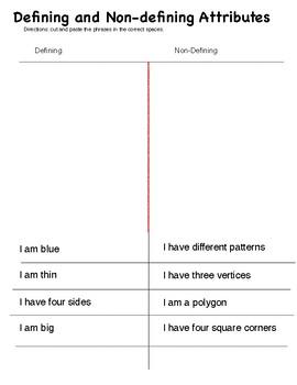Defining & Non-defining attributes Worksheet